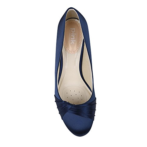 Paradox London Pink Toe Round Mid Heel Plissé Cour Ruffle chaussures de mariage Navy
