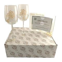 Idea Regalo - 50° Anniversario di Matrimonio D'Oro Bicchieri da Vino e Cornice Portafoto Set Regalo