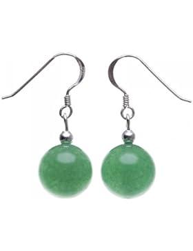 Ohrringe Ohrhänger aus Jade Kugel grün & 925 Silber Ohrschmuck Ohrhaken