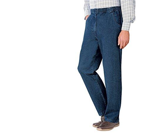 Hommes High - Rise Denim Élastiquée Coton Stretch Jean Bleu