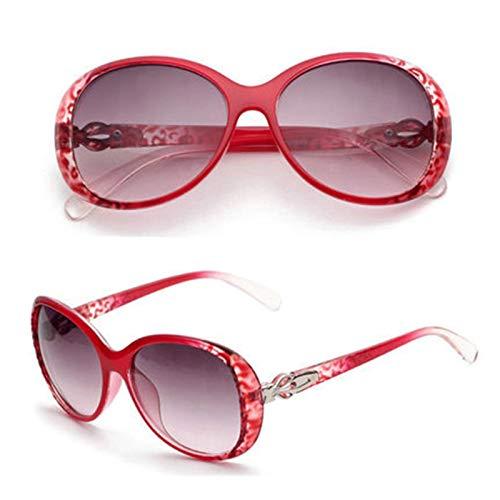Aeici Sonnenbrille Frauen Platte + Resin Sonnenbrille mit Rundem Muster Rot Sonnenbrillen