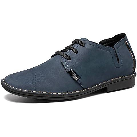 CHAMARIPA Zapatos con cordones de cuero hombre,negro y azul- 6,5CM más alto