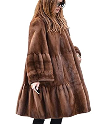Aofur Women's Luxury Thick Fuax Fur Outdoor Trench Coat Winter Warm Long Jacket Parka Overcoat Oversize 8-20