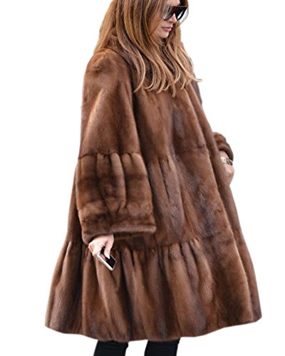 Aofur Damen Mantel Jacke Winter Lang Trenchcoat kunstpelz Parka Coat Gr. S-XXXL (48/Tag XXL, Brown)