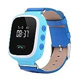 Deutsch Menü Kinder Smart Watch | Smartwatch| Armbanduhr | GPS, Telefon, Sprachnachrichten, Standortlokalisierung per App, Ortung, Tracker | Kinder Uhr GPS Tracker SOS Alarm Anruffunktion (Blau)
