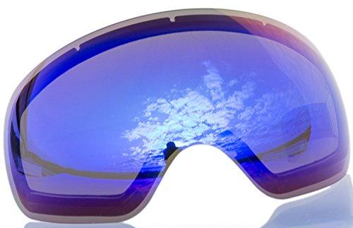 Alpzone Skibrille Snowboardbrille Goggle voll verspiegelt Antifog mit Wechselglas Etui (Blau Wechselscheibe)