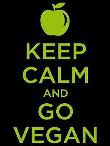 clothinx Einkaufstasche Keep Calm and go Vegan Schwarz mit grünem Aufdruck