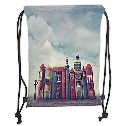 WTZYXS Drawstring Sack Backpacks Bags,Fantasy Decor,City with Old Books Style Buildings Birds Cloudy Sky Literature Magic Fun Cityscape Decorative,5 Liter Capacity,Adjustable. Tall Iced Tea