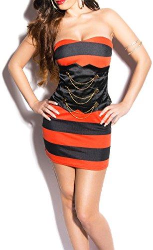 KouCla Bandeau Kleid im Marine-Look - 7 Farben (Gr. 34,36,38,40) Abendkleid Minikleid (IN50083) Rot/Schwarz