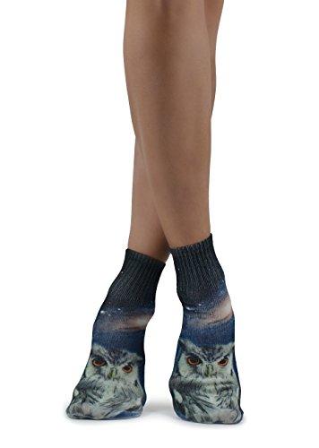Muchachas y muchachos adolescentes Calcetines únicos de moda con estampado de doble cara Búho 3D