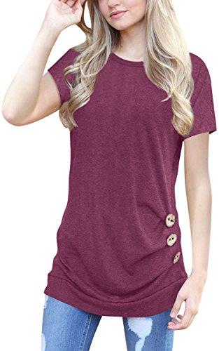 ECOWISH Kurzarmshirt Damen Pullover Frühling Knopf Rundhals Tshirt Hemd Oberteile Tops Wein Rot2 L (Pullover Strickjacken-weste Damen)