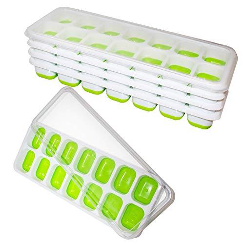 Kurtzy 5er Set Eiswürfelbehälter BPA-Freie Silikon Eiswürfel Schalenformen mit Auslaufsicherem Deckel - Flexible Eistabletts mit Je 14 Eiswürfelformen - Ideal für Babynahrung, Wasser, Cocktail und Mehr - Eiswürfelschale, Eiswürfelbereiter