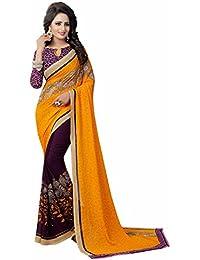 Ishin Faux Georgette Purple & Yellow Half & Half Printed Party Wear Wedding Wear Casual Wear Festive Wear Bollywood...