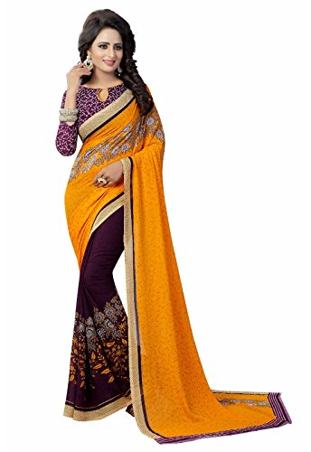 Ishin Women's With Blouse Piece Georgette Saree (Swaya-PaatliYellow_Free Size)