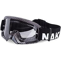 Naked Optics Gafas para MX, Downhill, Dirt Bike y ATV–Incluye extraíble nariz, tear-off protectores, Anti-Fog Cristal y funda–Anti Scratch, gris oscuro
