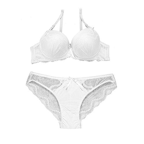 Fashion4Young Damen Sexy Dessous-Set Bügel BH Spitze Push-Up Slip Unterwäsche 2-farbig (Cup: B/75, weiss)