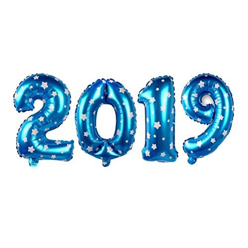 BESTOYARD 2019 Aluminiumfolie Luftballons Jahr Party Luftballons Silvester Dekoration für Home Office Einkaufen (Blau mit Sternen)