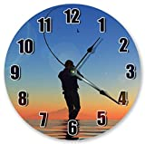 Mari57llis 15' Classic Wood Clock, Non Ticking Clock Vintage Fisherman Fishing in Sunset On Sea Clock Wooden Decorative Round Wall Clock