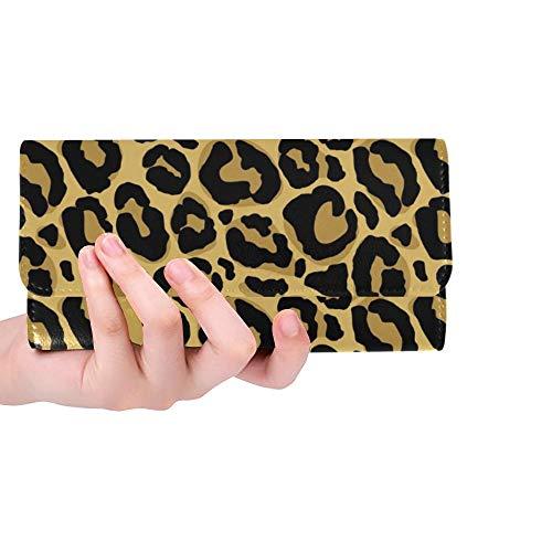 Único Personalizado Piel de Leopardo Textura Mujer Cartera Triple Monedero Largo Tarjeta de crédito Titular Caso Bolso