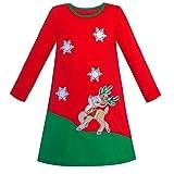 Sunboree Mädchen Kleid Lange Ärmel Weihnachten Rentier Schnee Urlaub Party Gr. 146