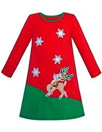 88c358f0a386 Sunny Fashion Vestito Bambina Manica Lunga Natale Pupazzo di Neve Vacanza  Festa 5-12 Anni