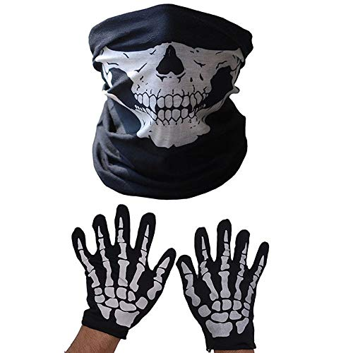 ZMDHL 2 Satz weiße Skeletthandschuhe und Schädel-Gesichtsmaske Half Ghost Bones für Erwachsene Halloween Dance - Sportler Kostüm Frauen