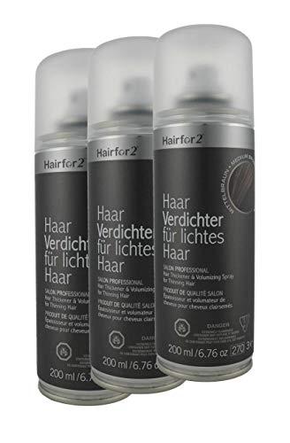 3 x Hairfor2 200 ml. Haarverdichter Spray Streuhaar Schütthaar Microhairs Hair Fiber, (mittelbraun)