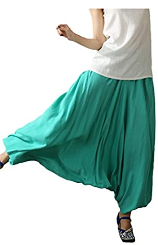 Vogstyle Women's Solid Loose Fit Drop Crotch Harem Pants Green