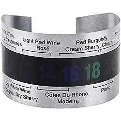 FTVOGUE Bracelet en Acier Inoxydable Température du vin Thermomètre Bouteille Température de la bière Bracelet Capteur