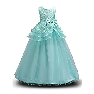 H HIAMIGOS AUSERO Girls Flower Dress Layered Formal Wedding Party Bridesmaid Prom Ball Gown Dresses with Bowknot Turquoise 160(11-12 Years)