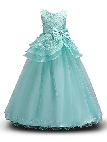 (Prinzessin Kostüm Mädchen Blumen Kleider Lang Rock mit Schmetterling ärmellos Party Hochzeit KleidGr. 120 (5-6 Jahre), Grün)
