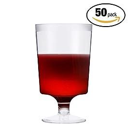 50 Pezzi Bicchieri da Vino in Plastica USA e Getta, Trasparente 180ml – Elegante, Resistente, Monouso o Riutilizzabile…