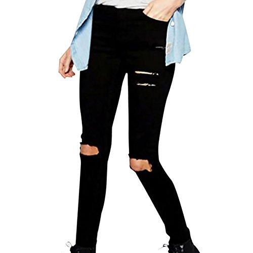 Zolimx Frauen Knie Cut Dünne Lange Jeans Hosen Bleistifthose (M) (Über Falte Schwarz Yoga Hose)