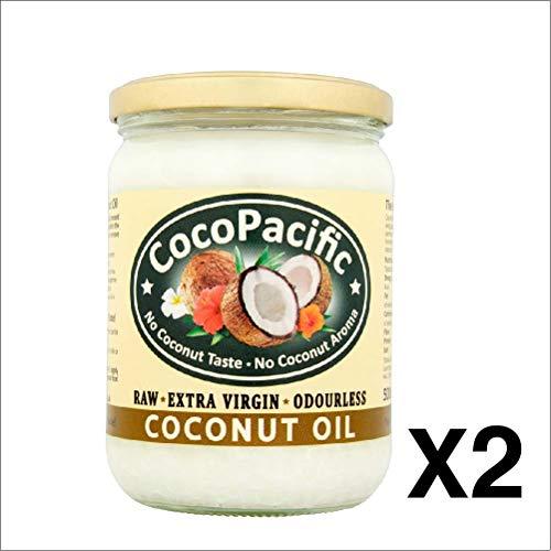 Cocopacific Premium Aceite de coco virgen extra crudo sin olor, 500 ml, 2 unidades