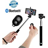 Supreno™ Remote Operation Selfie Stick With Bluetooth Remote Great For Vblogs, Group Pictures, Outings Compatible With Xiaomi Mi, Apple IPhone & IPad, Samsung, Sony, Lenovo, Oppo, Vivo And All Smartphones (1 Year Warranty, Assorted Colour)