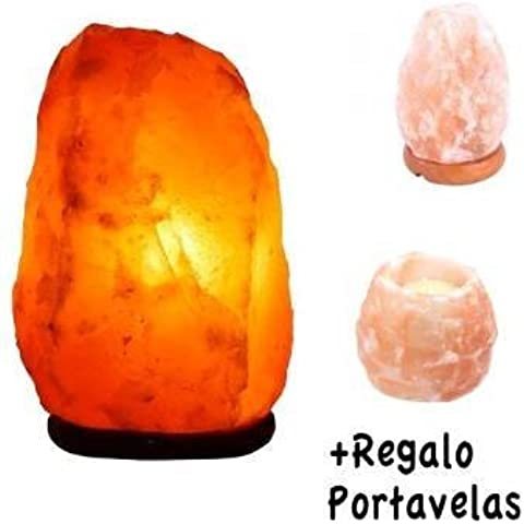 Lámpara de Sal Natural del Himalaya - 3/4 kg + pack 20 inciensos + Portavelas Regalo