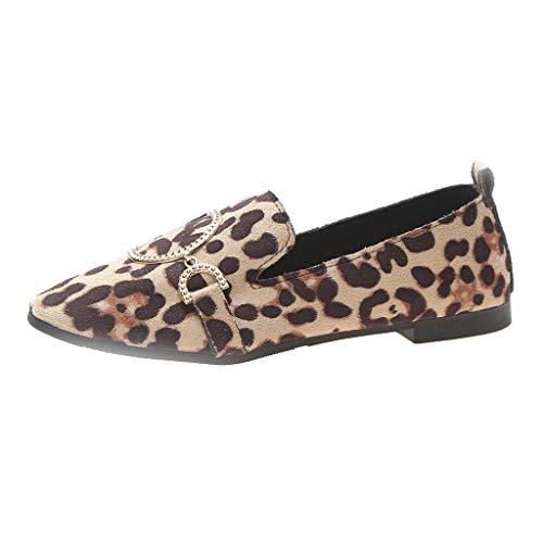 Mymyguoe Damen Schuhe Flach Mund Slip-on Quadratischer Kopf Schnalle Leichte Einzelne Schuhe beiläufige Arbeit Schuhe Frühling und Herbst Low Schuhe Abend Schuhe rutschfeste Segelschuhe -