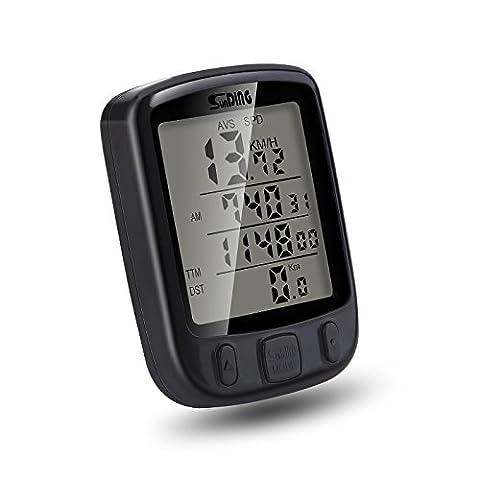 MPTECK @ Fahrradcomputer LCD Wasserdicht Fahrrad Fahrradtacho mit LCD Hintergrundlicht und Multifunktions für Tracking Geschwindigkeit und Distanz