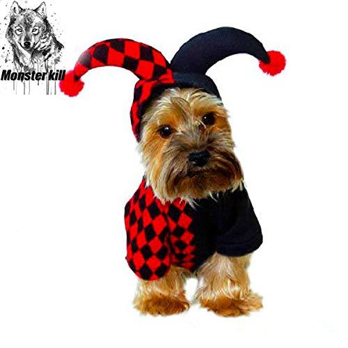 Monster töten Hund Halloween Clown Kostüm, Halloween Cosplay Hund Kostüm, niedlichen Clown Pet Kostüm, Hund warmen Hoodie (schwarz + rot) (M)