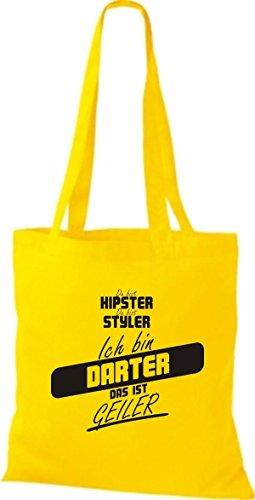 Shirtstown Stoffbeutel du bist hipster du bist styler ich bin Darter das ist geiler gelb