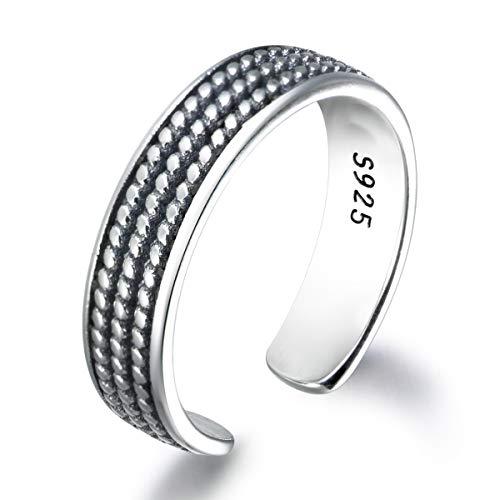 snorso Vintage 925Thai Silber Band Ring verstellbar Ewigkeit Versprechen Verlobungsring Ringe