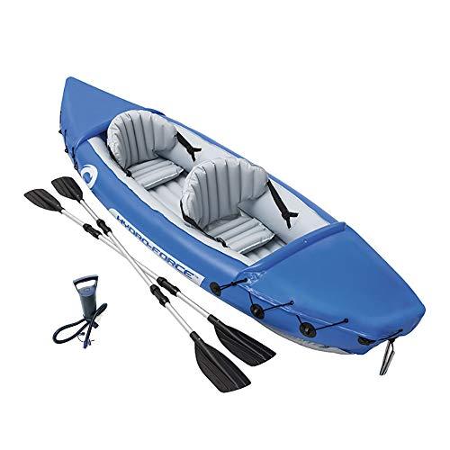 WeeLion Aufblasbares Fischerboot Beiboot, 2 Personen verdicktes Schlauchboot aus Gummi mit Aluminium-Paddel und Handpumpe (Gummi-fischerboote)