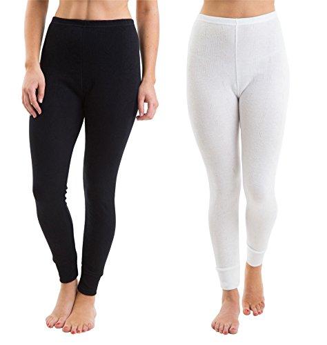 Satz von 2 Farben Womens/Damen Thermowäsche Rib Jacquard lange Hosen weiß & schwarz, verschiedene Größen (Jacquard Rib Damen)