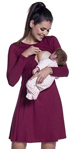 Zeta Ville - Premamá Vestido de lactancia efecto 2 en 1 capa - para mujer - 128c (Carmesí, EU 44/46, 2XL)