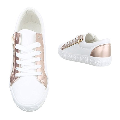 Ital-Design - Low-top Donna bianco rosa