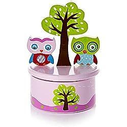 """Caja de música rosa para bebés decorada con búhos y con la melodía """"It's a small world"""", el regalo perfecto para un bautizo o babyshower"""