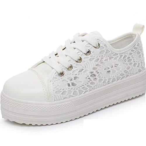 Nouveau Femmes Marcher Sneaker Trainers Mesdames Confortable Chaussures À Lacets en Toile Maille Floral Respirant Plateforme Tennis Baskets Blanc 38