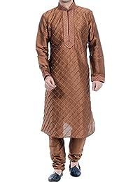Vastramay Men's Brown Cotton Silk Kurta & Pyjama Set (Color Coffee)