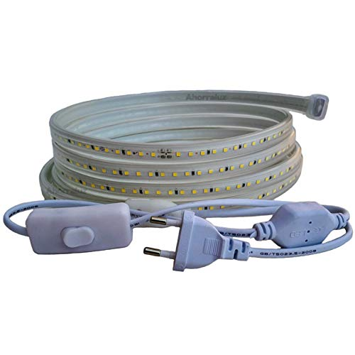 Ahorraluz Tira 220v 2835 120 Led/m Alta LUMINOSIDAD, con Interruptor. Impermeable Blanco Frío/Neutro/Cálido Waterproof IP67 Strip, 22 W, 2M