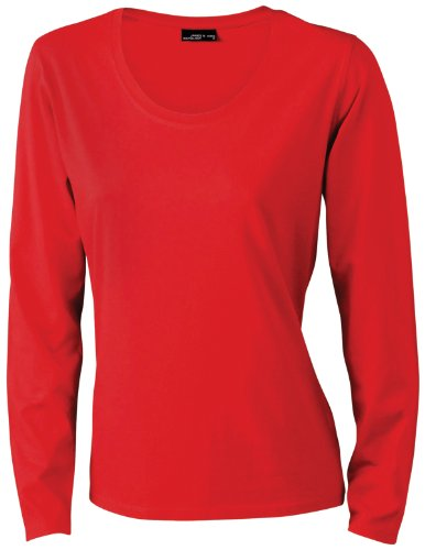James & Nicholson Damen T-Shirt Langarmshirt Medium red